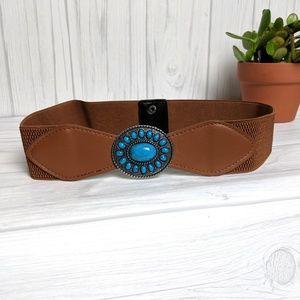 Faux Turquoise Boho Dress Belt Snap Closure Small
